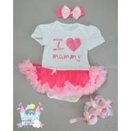 """Комплект """"I love mummy"""" - боди рокличка, пантофки и лента за коса"""