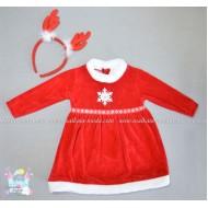Плюшена рокля Коледа с диадема