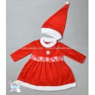 Плюшена рокля Коледа с шапка