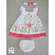 Комплект Пролет циклама - рокличка, шорти и лента за коса