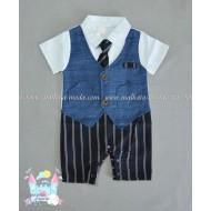 Летен гащеризон - костюмче с вратовръзка