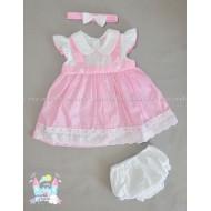 Комплект Розово каре - рокличка, шорти и лента за коса