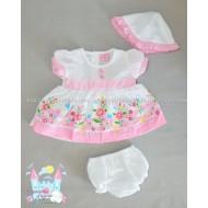 Комплект Розови цветя - рокличка, шорти и шапка