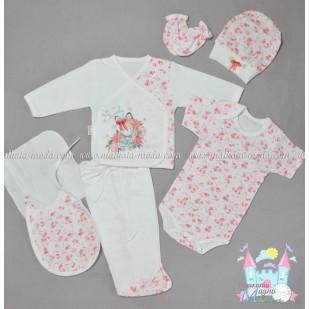 Бебешки комплект 7 части - Розово зайче